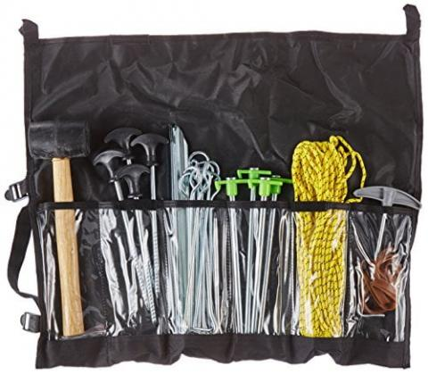 Outdoorer 52-piece Tent Accessories Set incl. mallet, sand pegs, aluminium pegs, screw-thread pegs, bedrock pegs, and lots more