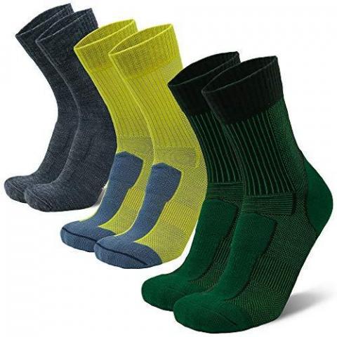 DANISH ENDURANCE Merino Wool Light Hiking & Trekking Socks 3 Pack, Men, Women, Kids, Anti-Blister