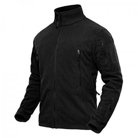 TACVASEN Men's Windproof Stand-up Collar Fleece Jacket with Zip Pockets