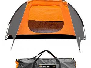 Milestone Camping Camping 18890 4 Man Super Dome Tent ~ Orange, Grey