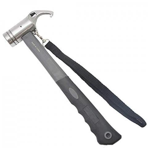 PQZATX Portable Carbon Steel Camping Tent Hammer Tent Peg Stake Puller Mallet Extractor Remover Awning Canopy Multifunction Tool