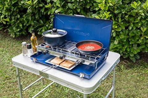 Campingaz Chef Folding Double Burner Stove and Grill - Blue