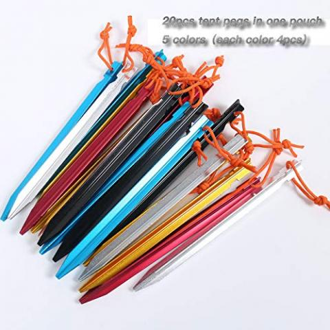 HIKEMAN 20 Pack Tent Pegs Aluminium Alloy Tent Stakes with Drawstring Bag For Outdoor Camping Trip Hiking Beach Heavy Duty and Mixed Color