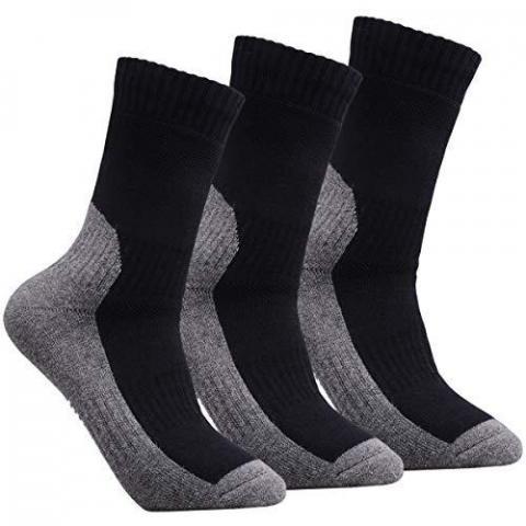 YUEDGE 3 Pairs Men's Walking Socks Cushion Breathable Trekking Socks Outdoor Winter Thermal Warm Socks