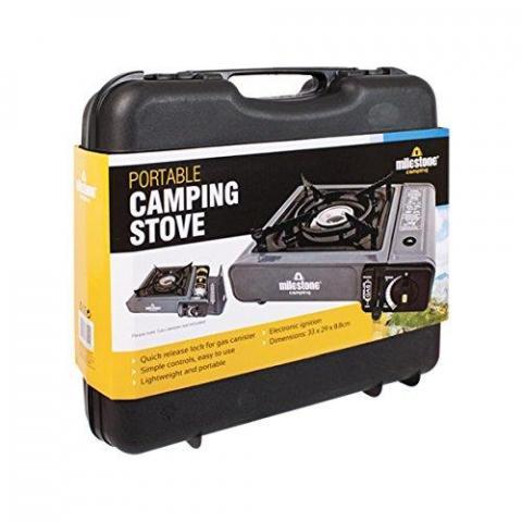Milestone Camping Men's 18940 Portable Lightweight Gas Stove Single Burner Camping-Black, one size