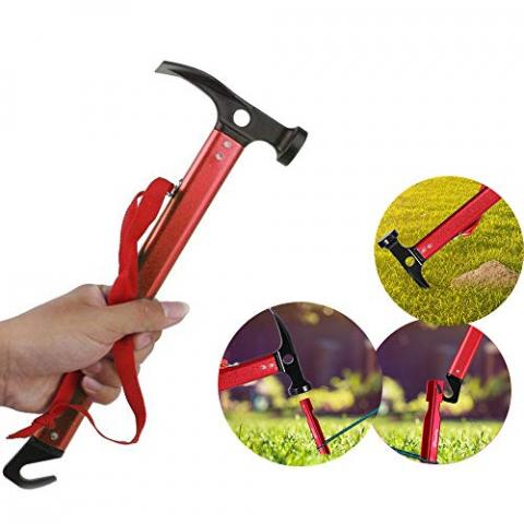 Peg Hammer, Multifunction Camping Mallet Hammer for Tent Pegs, Portable for Outdoor Camping Hammer Tent Nail Hammer or Stake Puller,Red