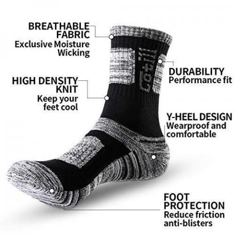 Cotill 5 Pairs Walking Hiking Socks for Men & Women, Performance Wicking Lightweight Breathable Cushion Anti Blister Casual Crew Trekking Athletic Socks for Outdoor Adventures