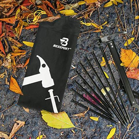 Bessport Tent Stakes and Tent Hammer Mallet, Carbon Steel Tent Pegs, Lightweight&Sturdy&Anti-Rust, Camping Accessories Kit, Great for Outdoor, Hiking, Backpacking (9 Pack)