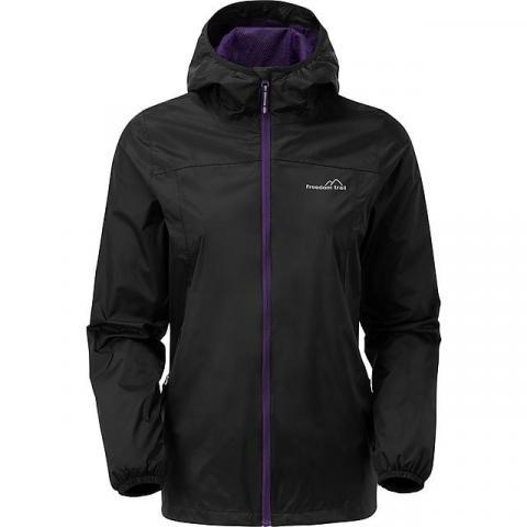 FREEDOMTRAIL Women's Tempest Waterproof Jacket, BLACK PURPLE