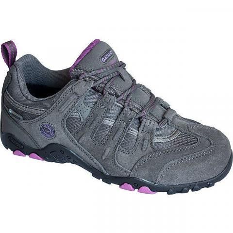 HI TEC Women's Quadra Classic WP Walking Shoe, CHARCOAL-PURPLE