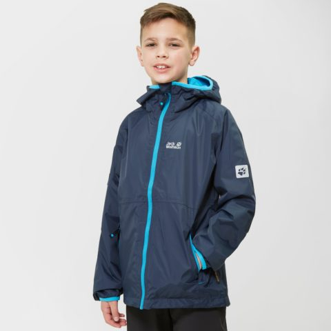 Jack Wolfskin Boy's Rainy Days Waterproof Jacket, Navy