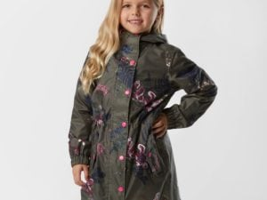 Joules Kids' GoLightly Waterproof Packaway Jacket, Khaki