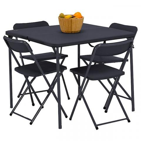 VANGO Dornoch Table and Chairs Set, BLACK
