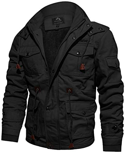 TACVASEN Men's Winter Thick Fleece Lined Cargo Military Jackets Casual Cotton Hoodies with Multi Pockets