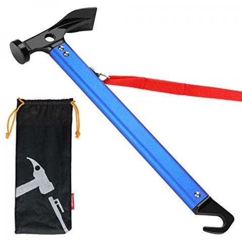Fuumuui Camping Hammer, Camping Mallet Hammer for Tent Pegs, Portable for Outdoor Camping Hammer Tent Nail Hammer or Stake Puller