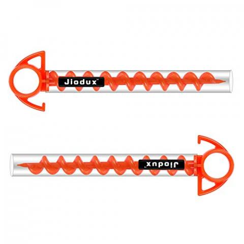 Jiodux Tent Pegs Ground Anchor Camping Stakes Dog Screw Orange PC Plastic Tent Peg 9 Inch- Small