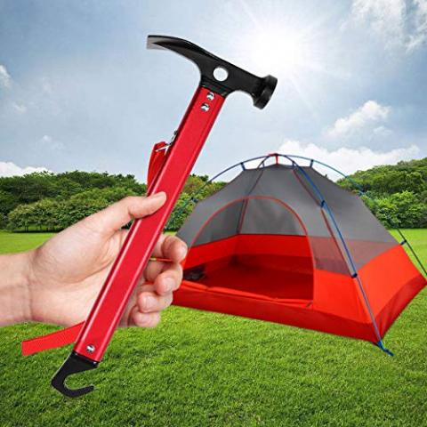 LEORX Multifunction Camping Mallet Hammer for Tent Pegs (Red)