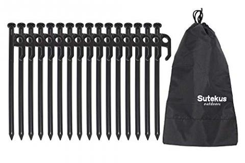 """Sutekus 12"""" Forged Steel Tent Stakes Tent Pegs Heavy-Duty Garden Stakes"""