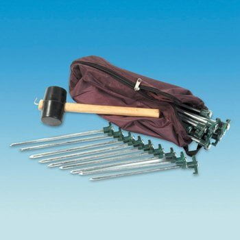 Tent Peg Camping Kit - 20 Rock pegs - Mallet - Extractor - Carry bag