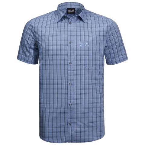 Jack Wolfskin Mens Hot Springs Shirt-Shirt Blue Checks-M