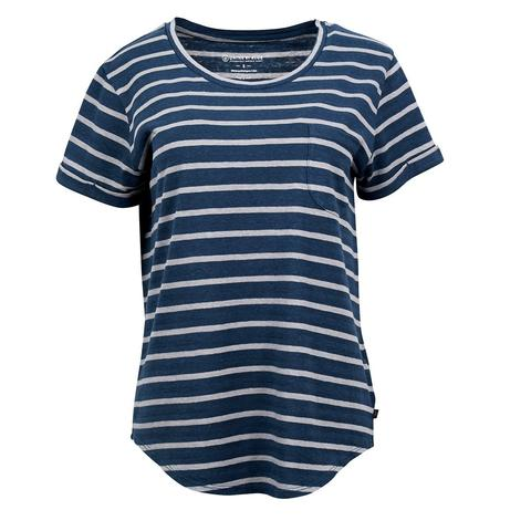 United By Blue | Womens Striped Pocket T-Shirt | Orion Blue