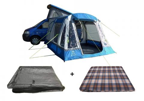 LOOPO BREEZE XL INFLATABLE CAMPERVAN AWNING PACKAGE AWNING, CARPET & FOOTPRINT GROUNDSHEET