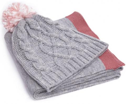 Handy Heroes Women's Knitted Hat and Scarf Set, GREY/SET