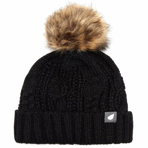 Peter Storm Women's Daisy Cable Knit Bobble Hat, Black/BLK