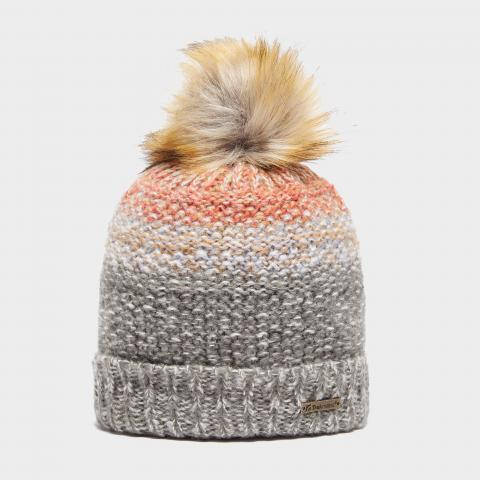 Trekmates Women's Ava Knit Bobble Hat, GREY/PEACH