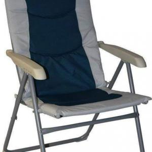 Royal Colonel High Back Padded Camping Beach Caravan Chair Blue Silver
