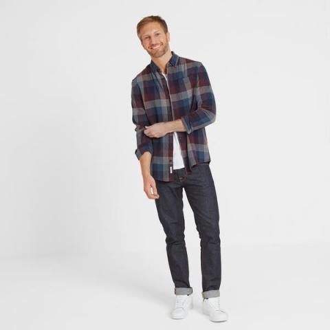 TOG24 Alfred Mens Long Sleeve Flannel Check Shirt - Deep Port Marl