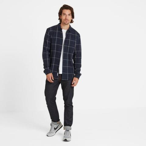 TOG24 Barney Mens Long Sleeve Flannel Check Shirt - Navy Marl