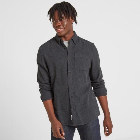 TOG24 Chester Mens Long Sleeve Plain Marl Shirt - Dark Grey Marl