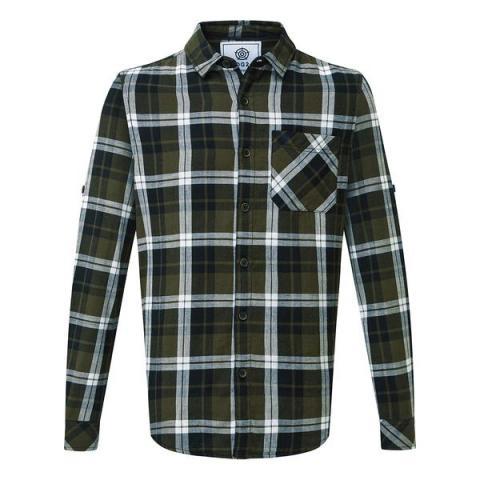TOG24 Edgar Mens Cotton Long Sleeve Shirt - Dark Khaki Check