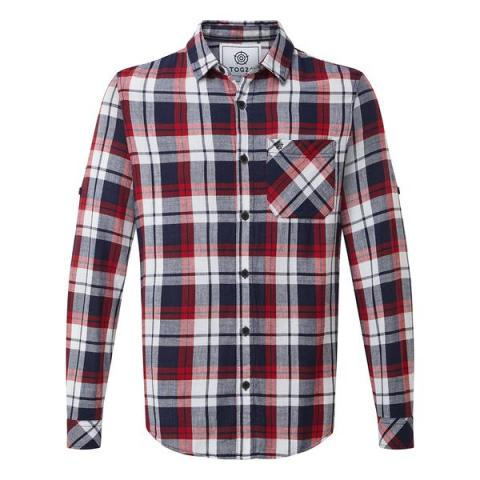 TOG24 Edgar Mens Cotton Long Sleeve Shirt - Navy Check