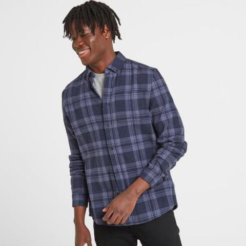 TOG24 Finley Mens Long Sleeve Flannel Check Shirt - Navy Marl