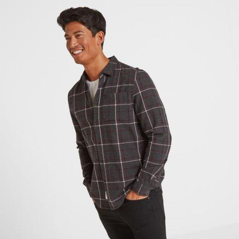 TOG24 Fletcher Mens Long Sleeve Flannel Check Shirt - Deep Port Check