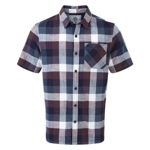 TOG24 Haltby Mens Short Sleeve Slub Check Shirt - Deep Port