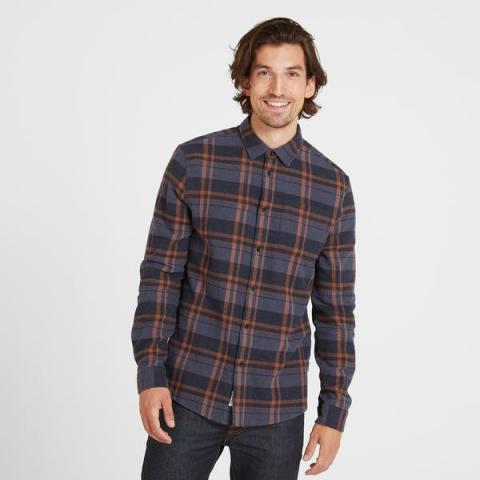TOG24 Louis Mens Long Sleeve Flannel Check Shirt - Amber Check