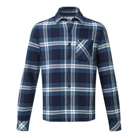 TOG24 Norman Mens Long Sleeve Flannel Shirt - Faded Navy Check