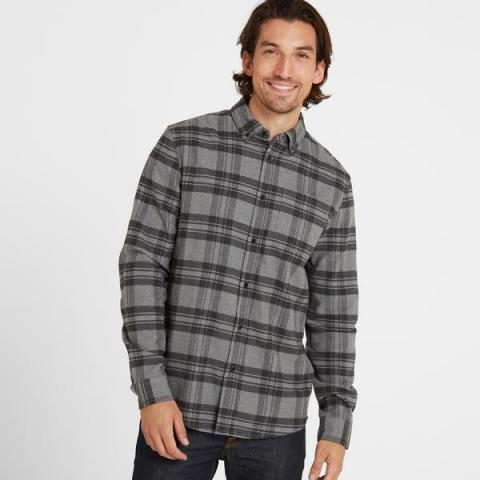TOG24 Ralph Mens Long Sleeve Flannel Check Shirt - Grey Marl