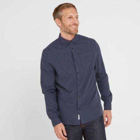 TOG24 Sidney Mens Long Sleeve Small Flannel Check Shirt - Dark Indigo