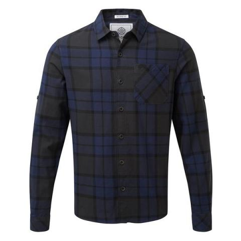 TOG24 Wallace Mens Flannel Check Long Sleeve Shirt - Navy