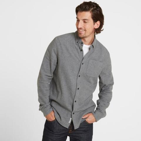 TOG24 Winston Mens Long Sleeve Plain Marl Shirt - Grey Marl