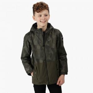 Kids' Selwyn Printed Waterproof Jacket Dark Khaki