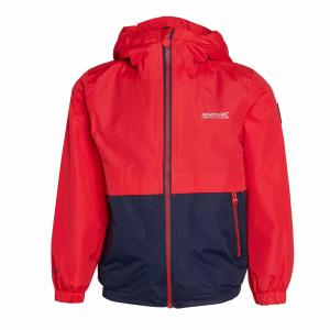 Regatta Kids' Haskel Waterproof Jacket, RED/NAVY