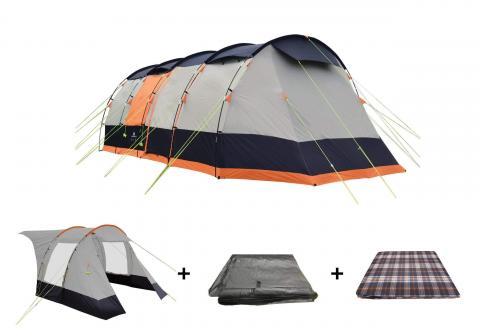 Wichenford 3.0 8 Berth Tent Package, Extension, Tent, Footprint Groundsheet, Carpet